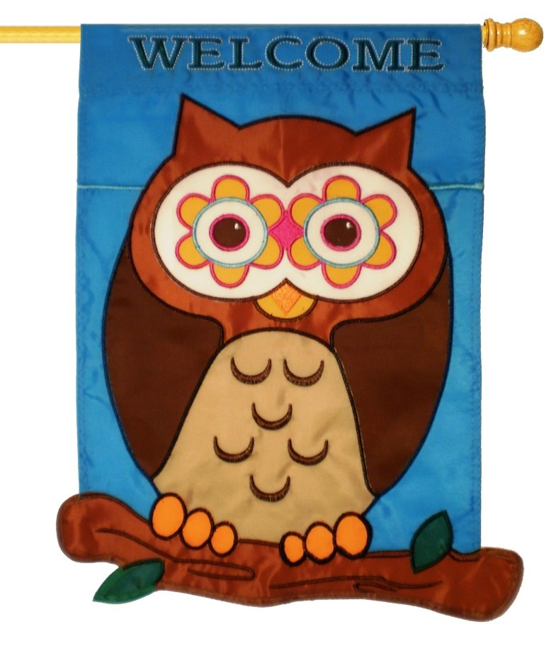 What A Hoot Applique House Flag, #0909FL