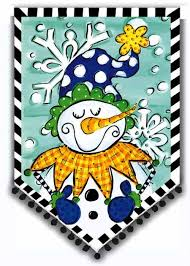 Tom Tom Jolly Snowman Garden Flag,  #14s2640