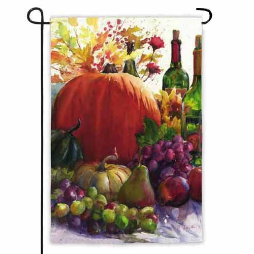 Pumpkin and Wine Garden Flag,  #14s2561bl