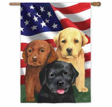 Trio of Puppies House Flag, #13A2538