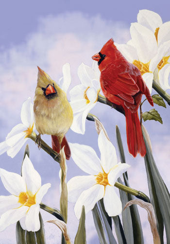 Cardinals in Bloom Garden Flag,  #0269fm