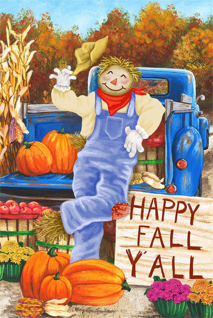 Happy Fall Ya'll Scarecrow Garden Flag, #9932FM