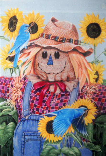 Scarecrow and Bluebirds Garden Flag, #0452fm