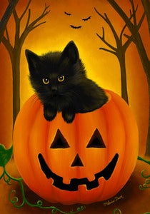 Halloween Kitten House Flag,  #HH0002