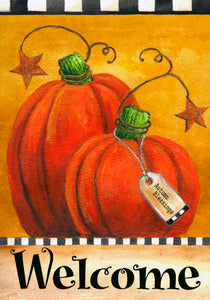 Pumpkin Autumn Welcome House Flag,  # HF0007 / H00063
