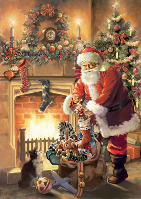 Santa By The Fireplace House Flag,  #HW0007