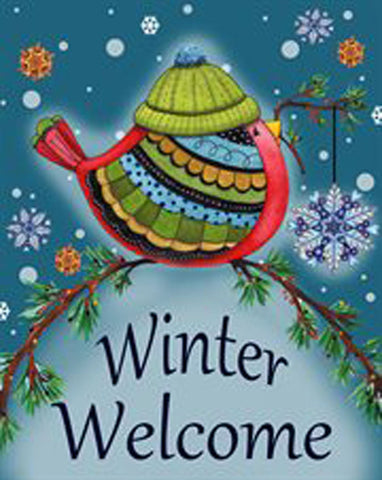 Winter Welcome Bird House Flag, #HW0012 / H00085