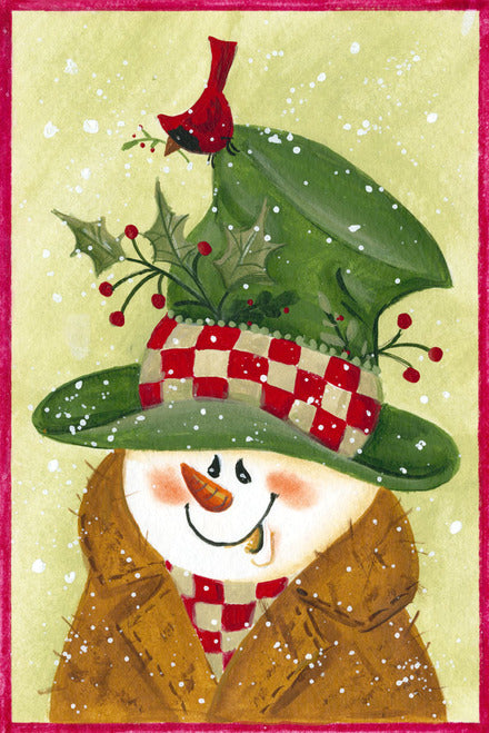 Snowman In Brown and Green Garden Flag, #GW0011
