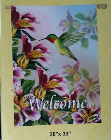 Welcome Hummingbird House Flag, #Z132s054
