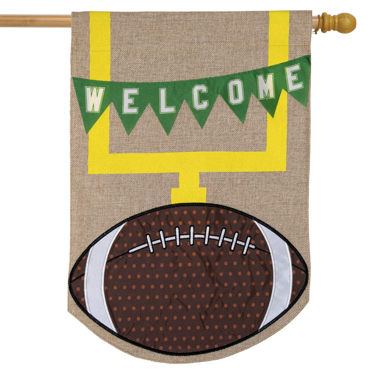 Football Burlap House Flag, #H00986