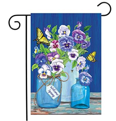 Butterflies and Pansies Garden Flag 12.5