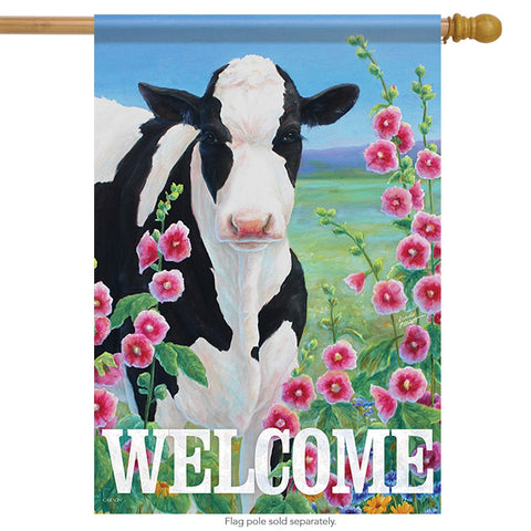 Holstein in Hollyhocks House Flag, #48854
