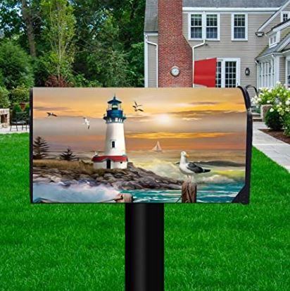 Sunset Lighthouse Summer Magnetic Mailbox Cover Standard Size