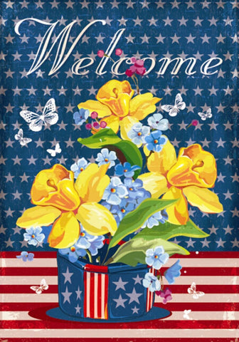 Daffodils Red, White and Blue Garden Flag, #G00269