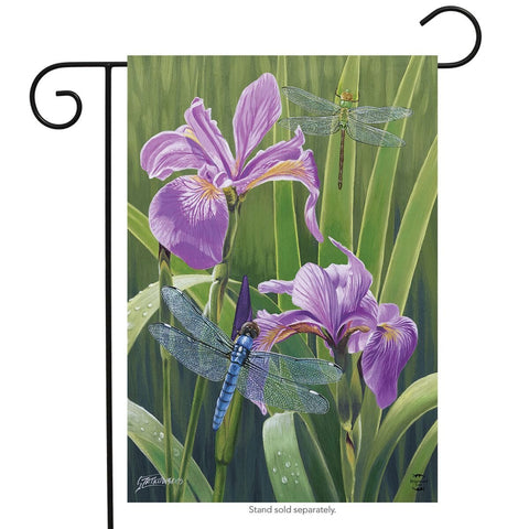 Dragonflies and Irises Garden Flag, #G00645