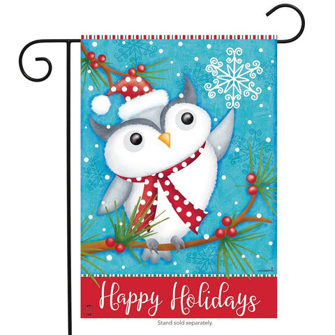 Happy Holidays Owl Primitive Garden Flag, #G00692