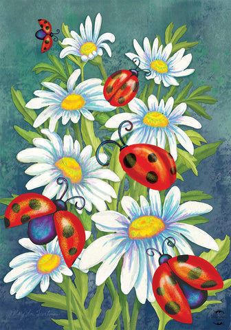 Ladybugs and Daisies House Flag, #H00805