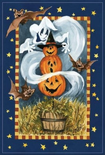 Ghost and Pumpkin Trio Garden Flag, #FS26