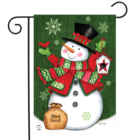 Snowman And Birdhouse Garden Flag, #G00926