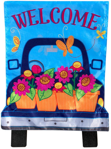 Spring Pickup Applique Garden Flag, #G00849