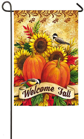Fall Sunflowers, Pumpkins & Birds Garden Flag, #14S3891