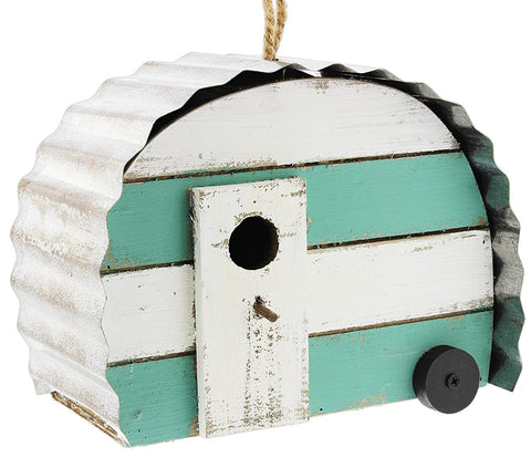 Camper Birdhouse (Teal & White), #76012