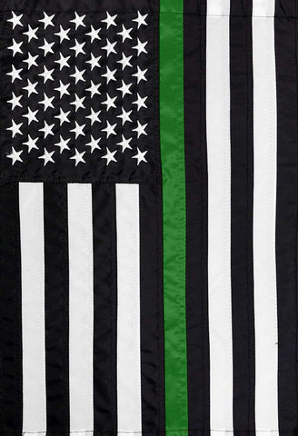 Embroidered Thin Green Line Garden Flag, #G00867