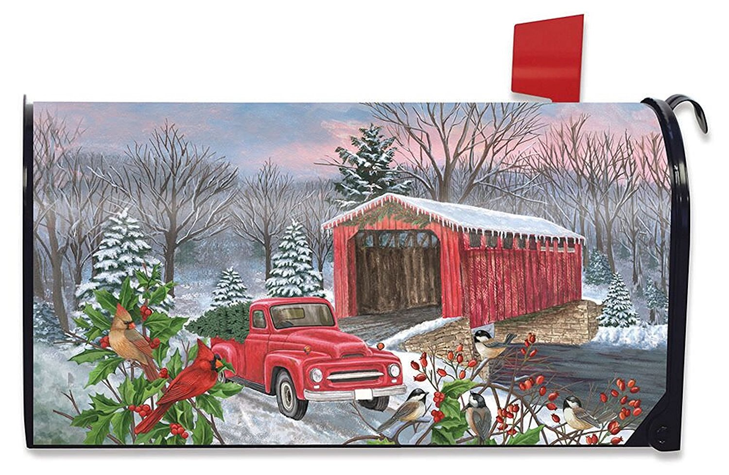 Winter Covered Bridge Standard Size Mailbox Cover, #M00520