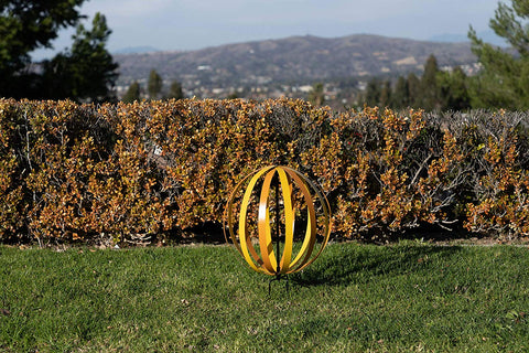 Yellow/Orange Metal Garden Orb Medium Size