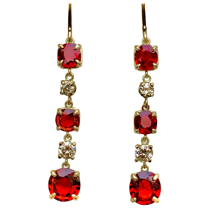 No Heat Red Spinel and Diamond Drop Earring 6.79 Carats