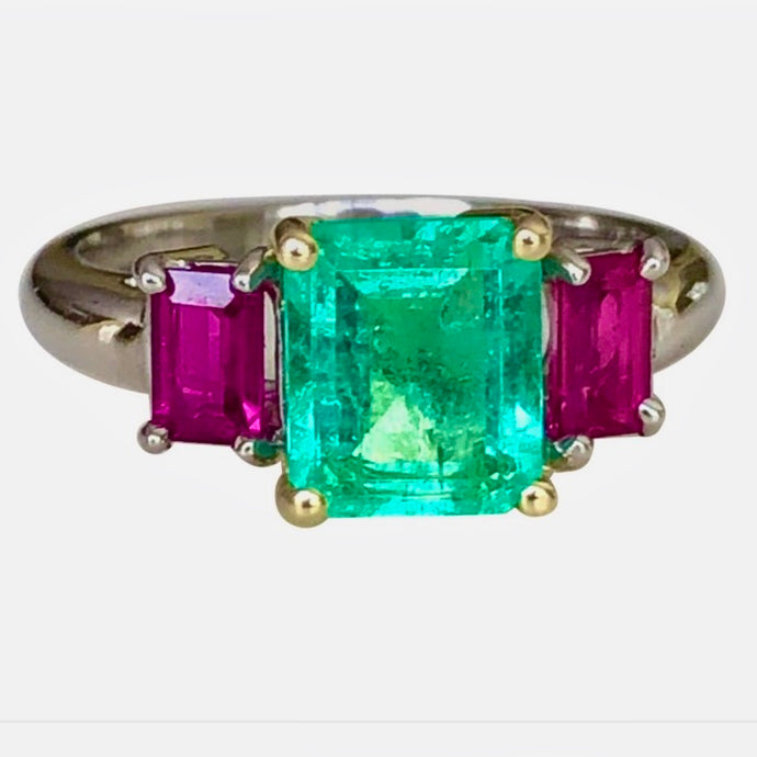 2.16 Carat Natural Colombian Emerald Ruby Ring Platinum and 18K