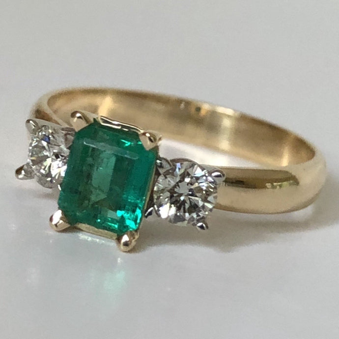 Colombian Emerald Diamond Three Stone Engagement Ring 18K