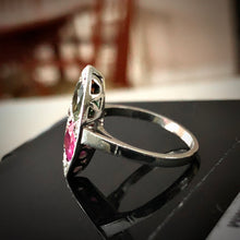 Load image into Gallery viewer, Ruby Sapphire Twin Platinum Ring Navette