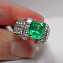 Load image into Gallery viewer, Estate 7.56ct Extra Fine Natural Colombian Emerald Diamond Ring 18K