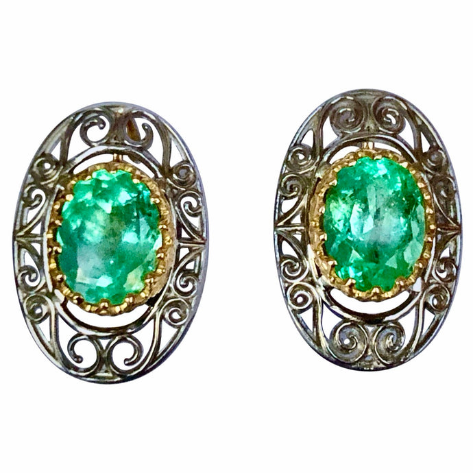 Antique Style Emerald 18K Gold Platinum Drop Earrings