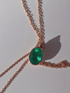 2.00 Carat Colombian Emerald Solitaire Pendant Necklace 18K Rose Gold