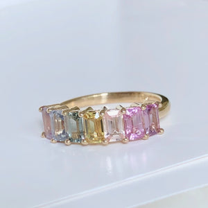 Multi-Color Natural Sapphire Half Eternity Engagement Band Ring Gold