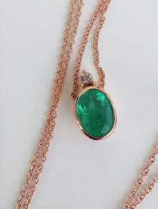 2.00ct Colombian Emerald Solitaire Pendant Necklace 18K Rose Gold