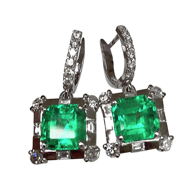 Certified 10.77 Carat Colombian Emerald Diamond Earrings 18K