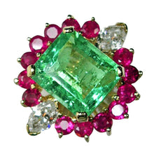 Load image into Gallery viewer, Certified Emerald Diamond & Ruby Cluster Cocktail Ring 18k
