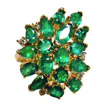 Load image into Gallery viewer, 4.75 Carat Natural Colombian Emerald Cluster Cocktail Retro Style Ring 18K