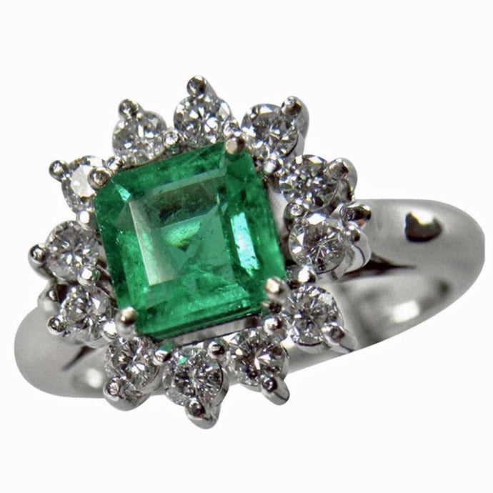 Natural Fine Colombian Square Emerald Diamond Engagement Ring 18K