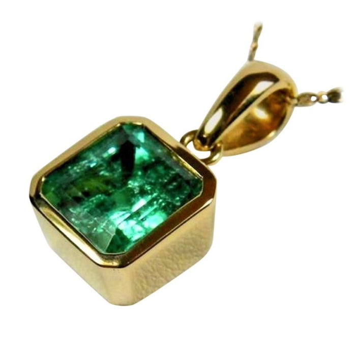7.50cts AAAA+colombian Square Emerald Solitaire Pendant Emerald Cut 18k Gold
