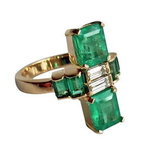 4.24 Carat Natural Fine Colombian Emerald Diamond Art Deco Style Ring 18K