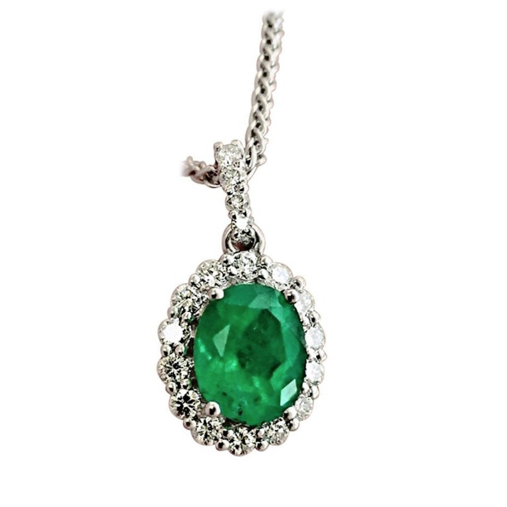 2.40ct Colombian Emerald Diamond Pendant Necklace 14K White Gold 18