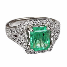 Load image into Gallery viewer, 2.91 Carats Vintage Colombian Emerald Diamond Engagement Ring 18k