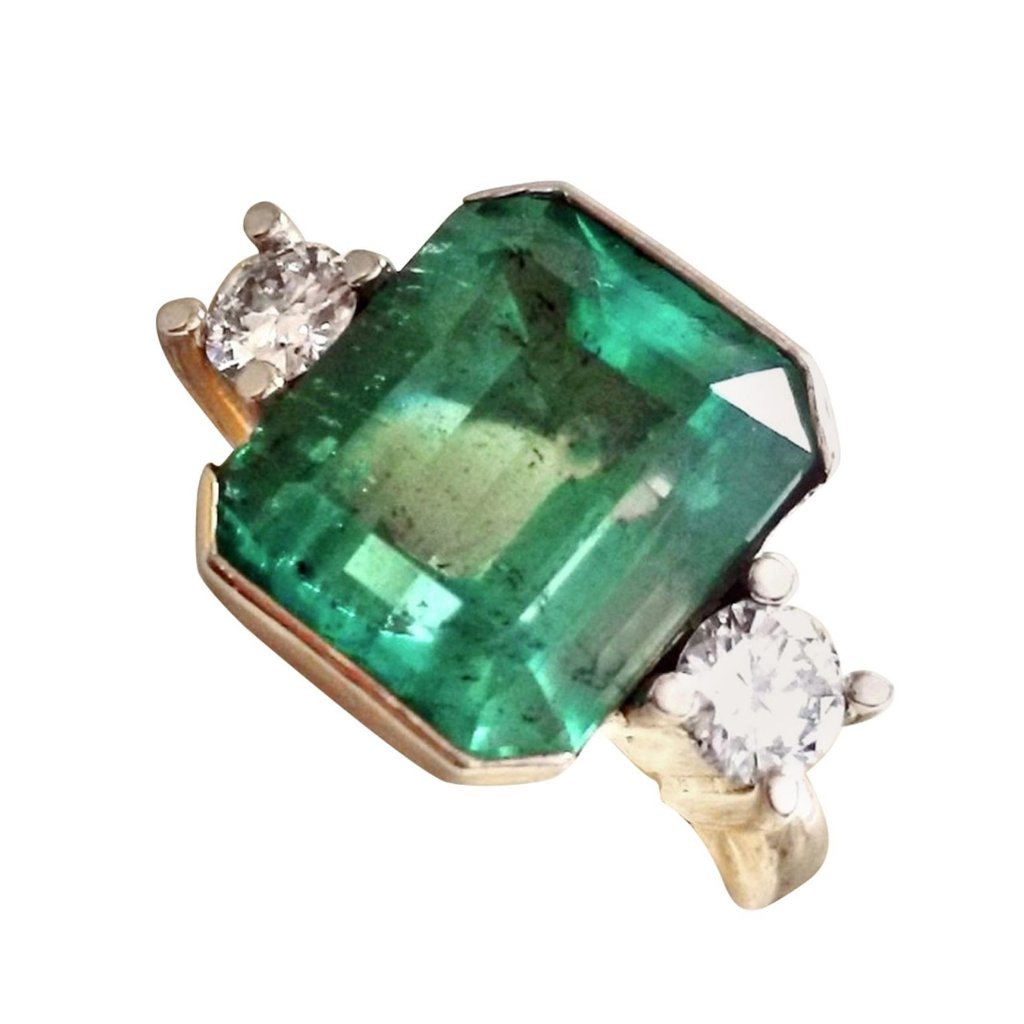 7.35ct AAA Natural Colombian Emerald Diamond Ring 18K Yellow Gold