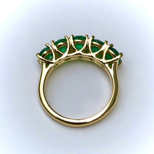 Load image into Gallery viewer, Five Stone Emerald 18K Gold Ring