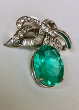 Load image into Gallery viewer, Copy of 18.76 Carat Certified Colombian Emerald and Diamond Platinum Brooch Pendant