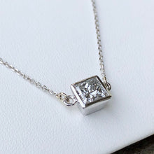 Load image into Gallery viewer, 1.00 Carat Princess Cut Diamond Solitaire Pendant Necklace